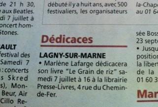 Libraire LAGNY SUR MARNE juillet 2012